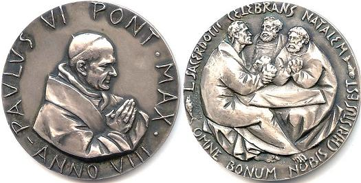 Paul VI (1963-78) Anno VIII Silver Medal Photo