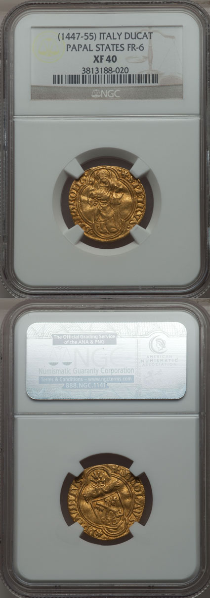 Nicholas V (1447-55) Papal Ducat NGC XF45 Photo