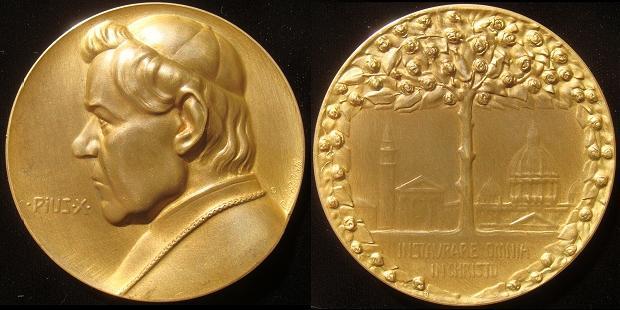 Pius X (1903-14) Bronze 70mm by C. Poellath Photo