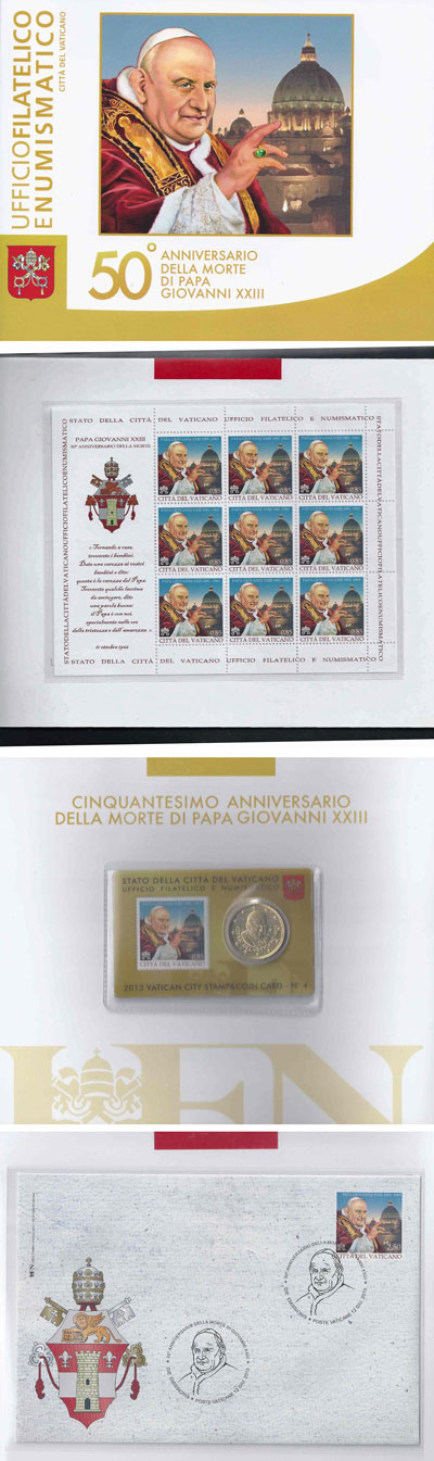 2013 Vatican John XIII Stamps + Coin Folder Photo