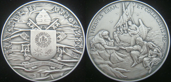 Pope Francis Anno V Silver Medal Photo
