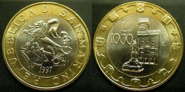 1997 San Marino 1000 Lire Bimetal Coin Lion Photo