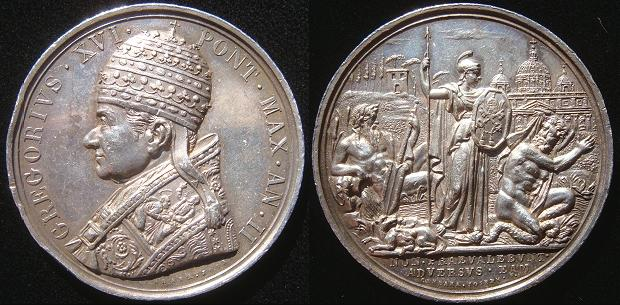 Gregory XVI (1831-46) Anno II Silver Medal Photo