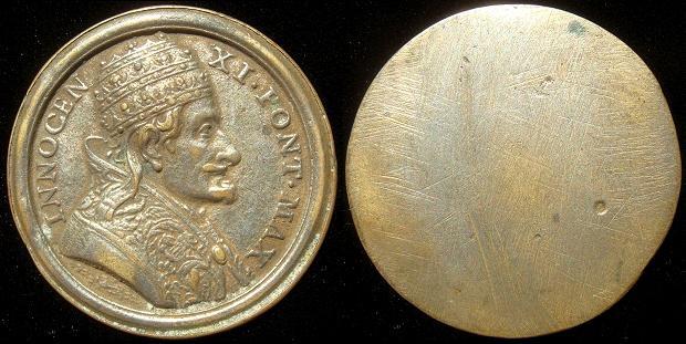 Innocent XI (1676-89) Uniface 49mm Copper Photo