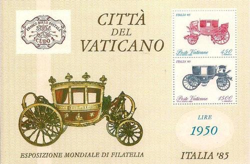 1985 Vatican Souvenir Sheet ITALIA '85 Photo
