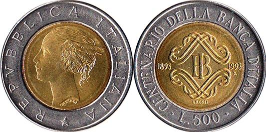 1993 Italy 500 Lire Bimetal Bank of Italy Photo