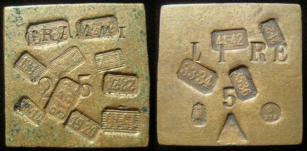 Italy Coin Weight for 5 Silver Lire Square Brass Photo