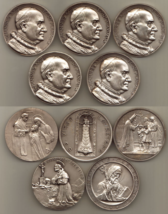 Lot of 5 Pope John XXIII Medals Photo