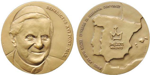 Benedict XVI 2011 Spain Trip Medal Photo