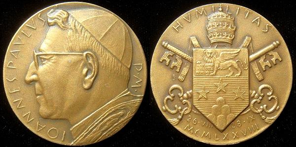 John Paul I (1978) Official Bronze Medal Photo