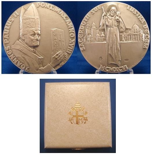 John Paul II A.XVIII Ag Medal 50th ANN. Photo