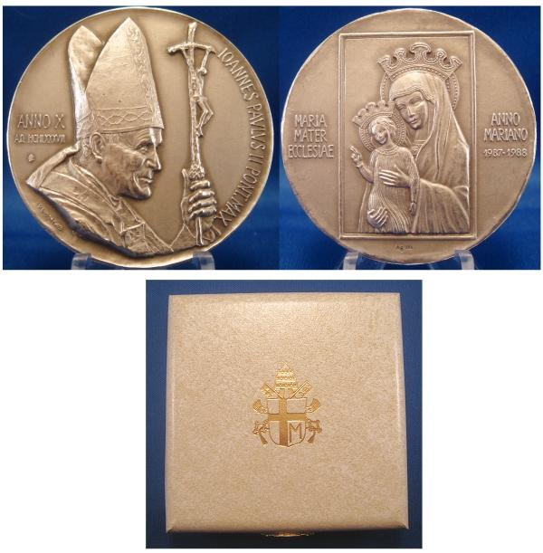 John Paul II Anno X Silver Medal MARIAN YEAR Photo