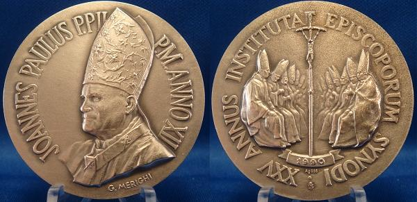 John Paul II Anno XII Ag Medal SYNOD OF BISHOPS Photo