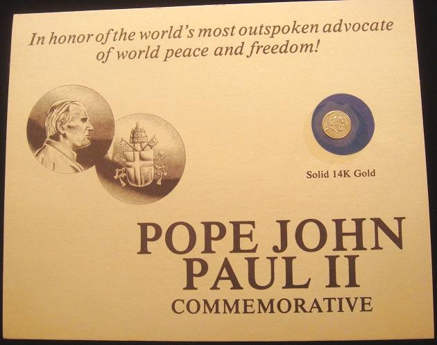 John Paul II Miniature 14K Gold Medal Photo
