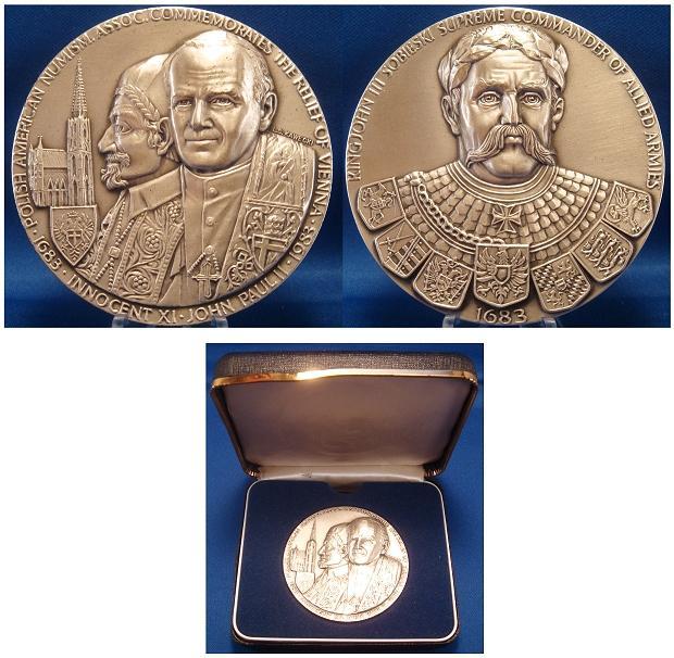 JPII/Innocent XI 1983 Ag Medal 1683 Vienna Relief Photo