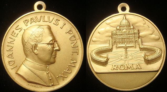 John Paul I (1978) Gilded 36mm Medal Photo