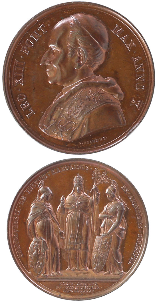 Leo XIII 1887 A.X Ae Medal Caroline Islands Photo
