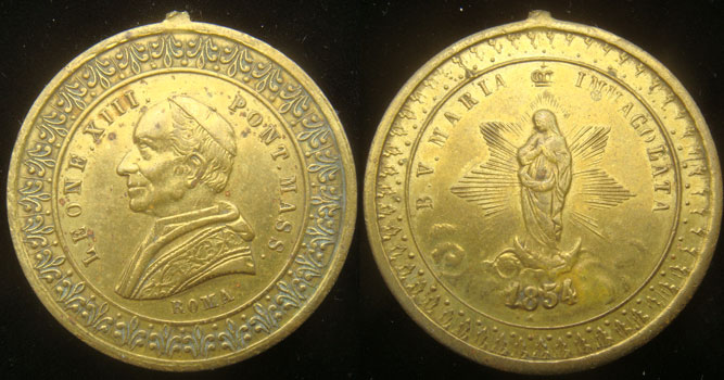 Leo XIII (1878-1903) Immaculate Conception 31mm Photo
