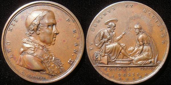 Leo XII (1823-9) Bronze Medal Washing of the Feet Photo