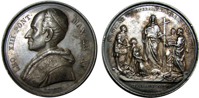 Leo XIII 1892 Anno XV Silver Medal RERUM NOVARUM Photo