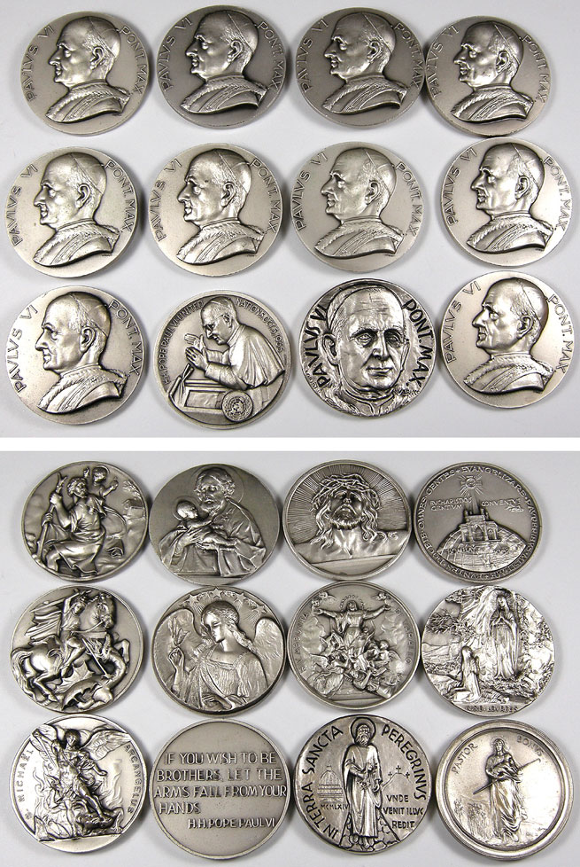 Lot of 12 Paul VI Medals 50mm Photo