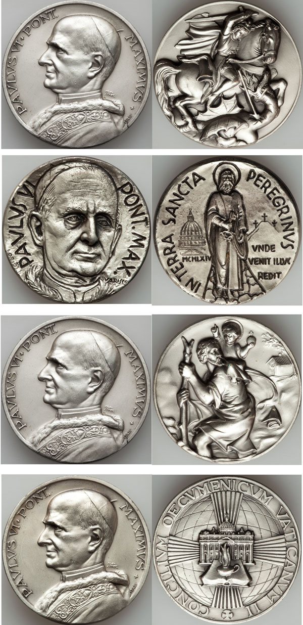 Lot of 4 Pope Paul VI Medals 50mm Photo