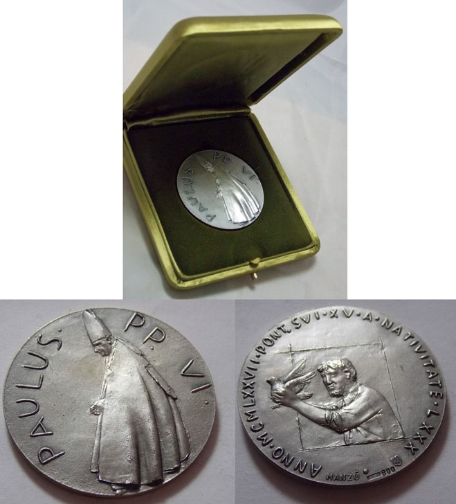 Paul VI 1977 Silver Medal 80th Birthday Photo
