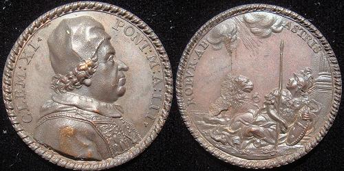 Clement XI (1700-21) Anno III Bronze Medal Photo