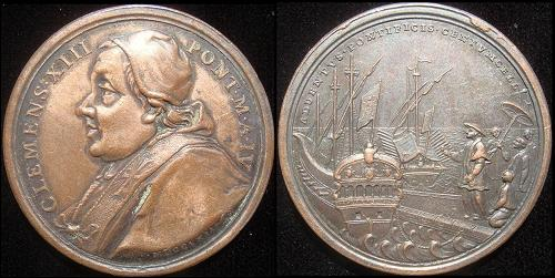 Clement XIII (1758-69) Anno IV Bronze Medal Photo