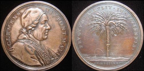 Clement XIV (1769-74) Anno VI Bronze Medal Photo