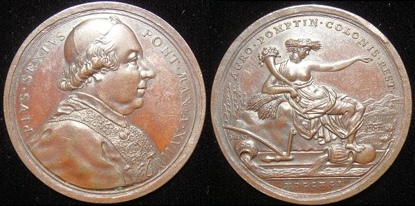Pius VI (1775-99) Anno XVII Bronze Medal Photo