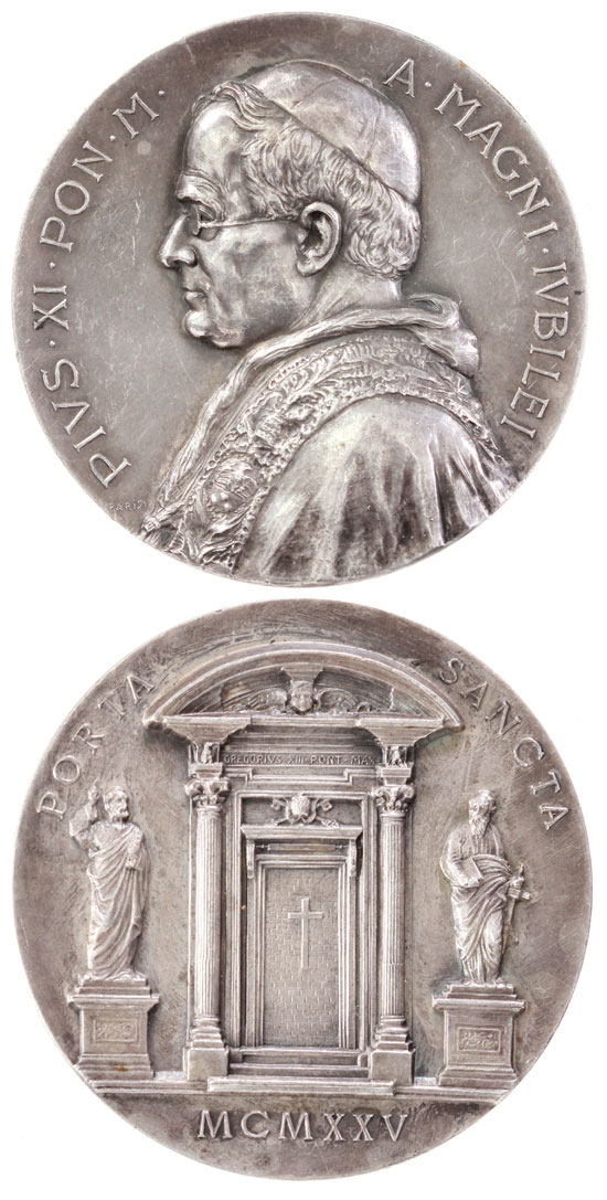 Pius XI 1925 Holy Year Medal 55mm Photo