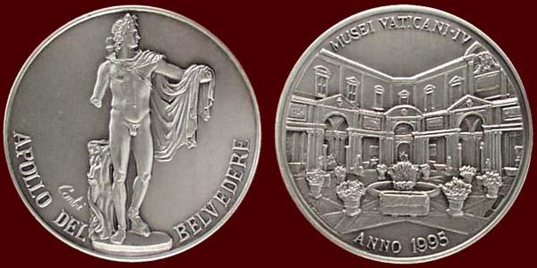 Vatican Museum Medal Ar 1995 Apollo Belvedere Photo