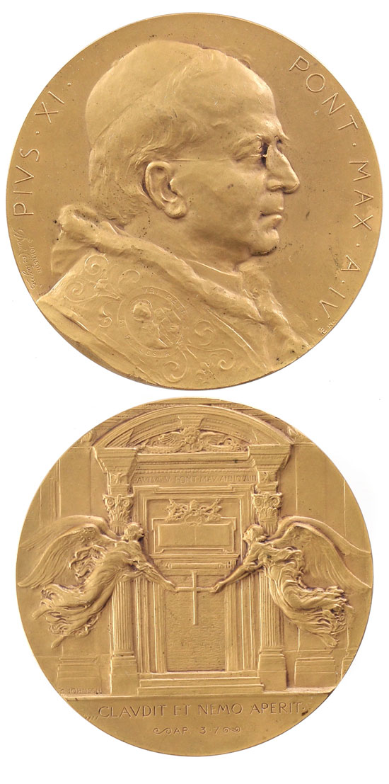 Pius XI 1925 Closing of Holy Year Medal 67mm Photo