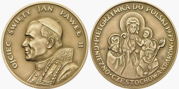 John Paul II 1979 Trip to Poland Bronze Unc Photo