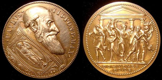 Paul III (1534-49) Jesus Cleansing Temple Medal Photo