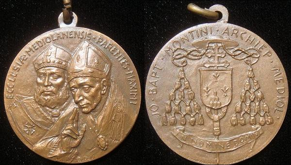 Paul VI 1968 Medal Archbishop of Milan Photo