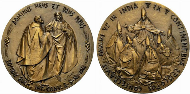 Paul VI 1964 Visit to India Bronze Medal Photo