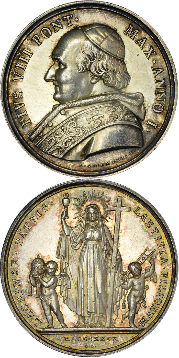Pius VIII 1829 Medal Silver Photo