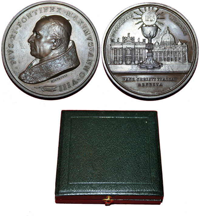 Pius XI 1929 Bronze Medal Lateran Agreements Photo