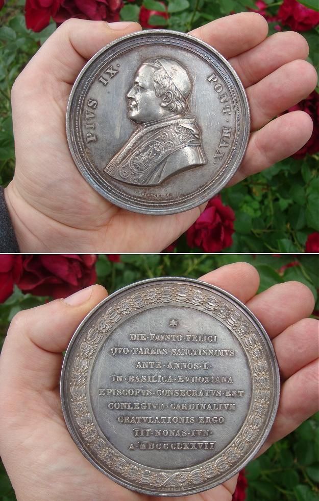 Pius IX 1877 Papal Silver Medal 83mm Photo