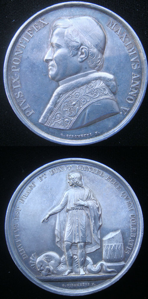 Pius IX 1850 Medal, Restoration Papal Sovereignty Photo