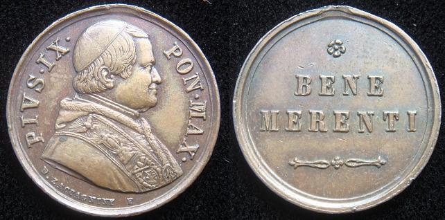 Pius IX (1846-78) Benemerenti Medal 20mm Photo