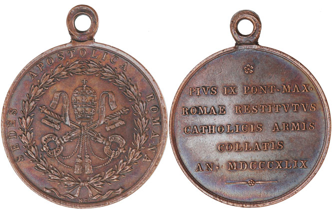 Pius IX 1849 Award Medal to Spanish Soldiers Photo
