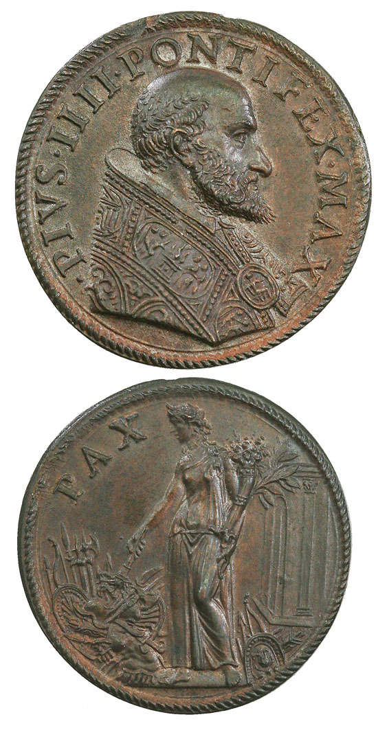 Pius IV (1559-65) Figure of Peace Medal Photo