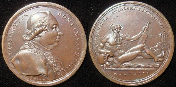 Pius VI 1792 Bronze Medal, The River Aniene Photo