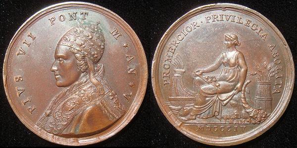 Pius VII 1804 Bronze Medal Anno V Photo