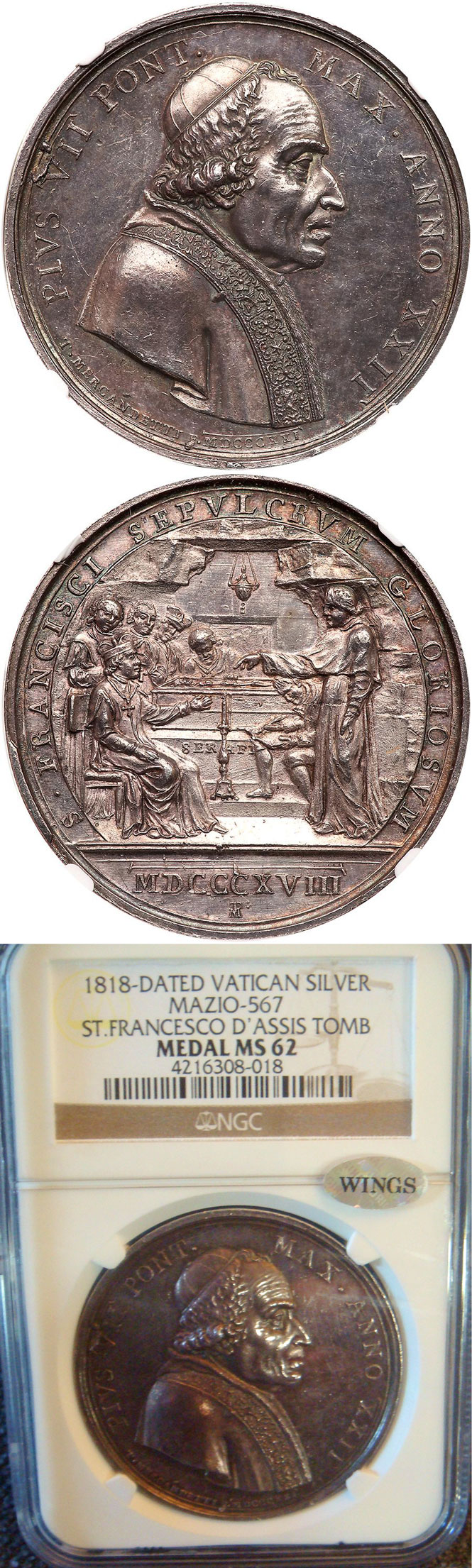 Pius VII (1800-23) Tomb St Francis Assisi Ag Medal Photo