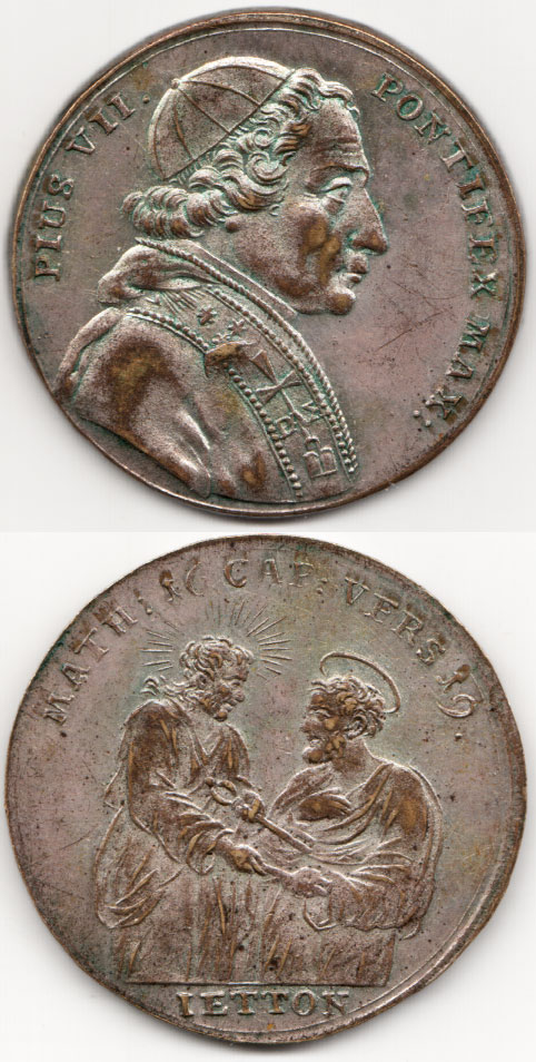 Pius VII (1800-23) Silver-Brass Jeton Photo