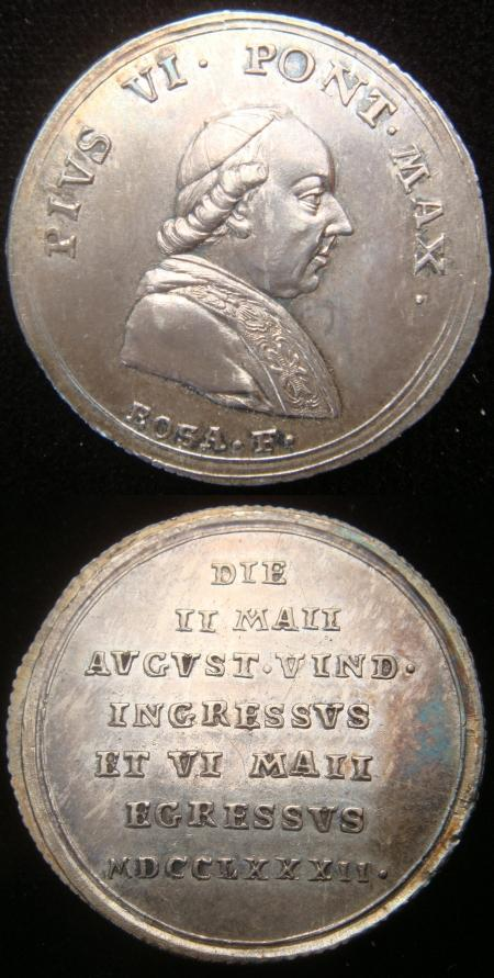 Pius VI 1782 Trip to Vienna Silver Medal Photo